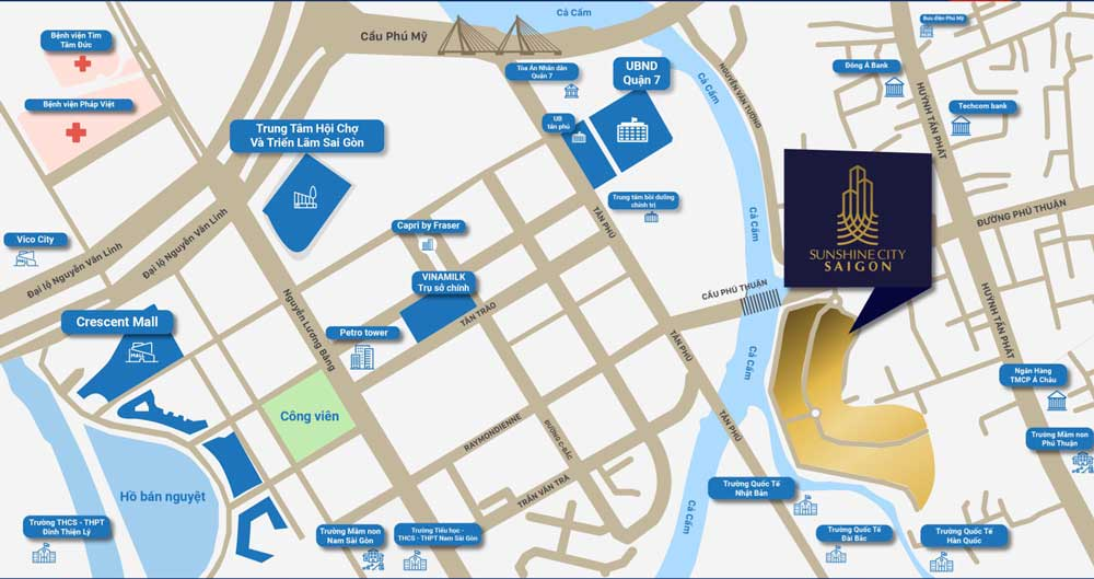 vị trí của dự án căn hộ Sunshine City Sai Gon Quận 7